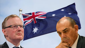 Philip Lowe of the RBA and Wayne Byres of APRA in front of an Australian flag.