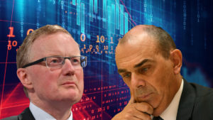 Philip Lowe of the RBA and Wayne Byres of APRA in front of financial data.