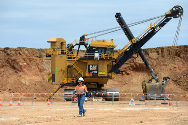 A large mining vehicle in a BHP metallurgical coal mine.
