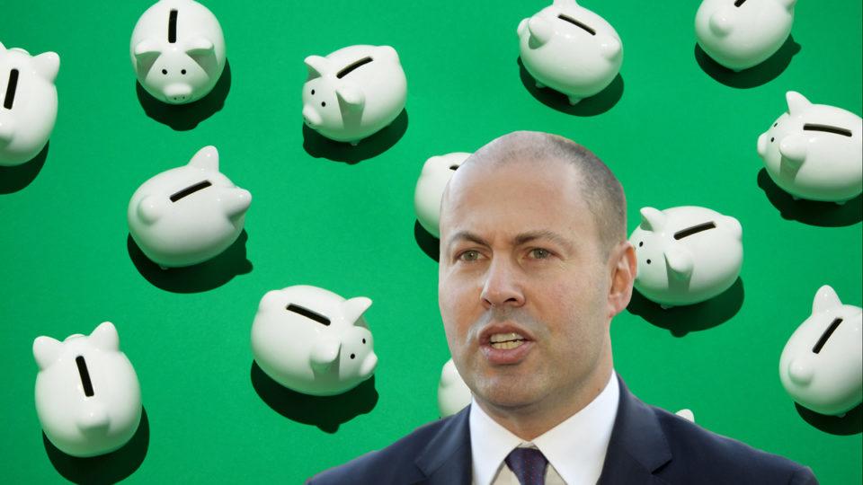 Josh Frydenberg with piggy banks.