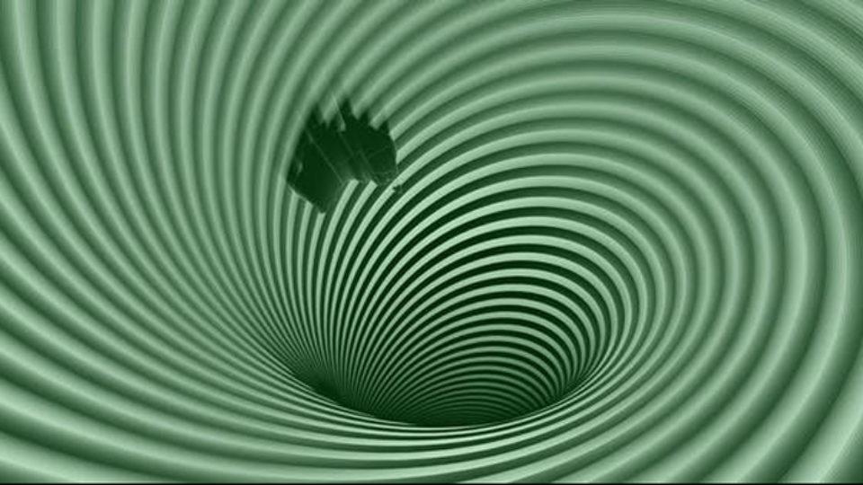 Australia sinking into a green vortex.