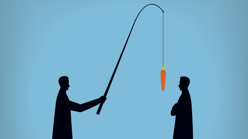 Two silhouettes, one of which has a carrot on a fishing rod.