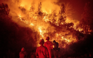 Firefighters battled the Ranch Fire near Ladoga, Calif., in August.
