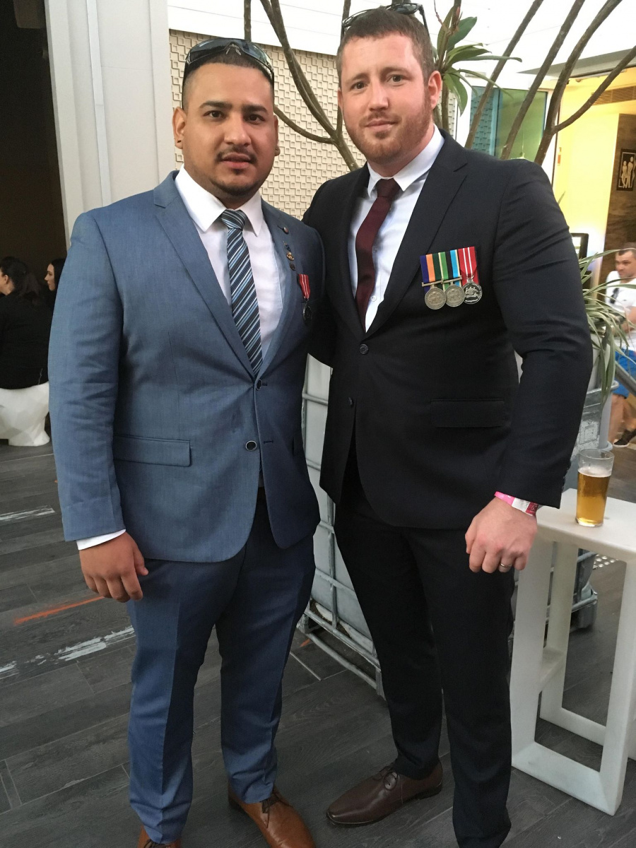 Sean Lynch (right) has struggled since being discharged from the army.