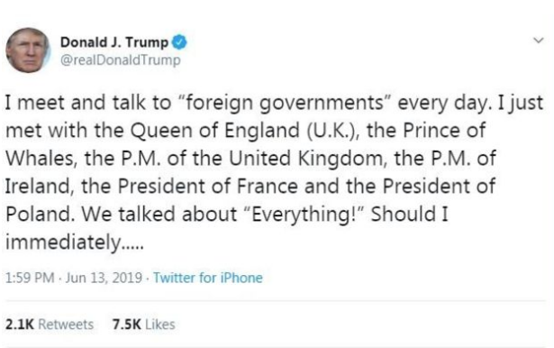 Donald Trump Prince of Whales tweet