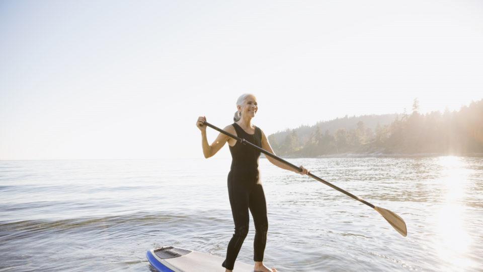 Retirees paddle.