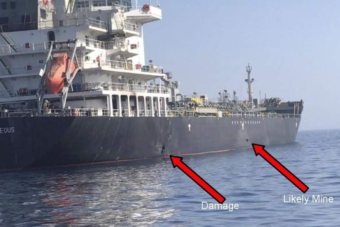US Central Command image showing what it said was damage to the side of the Kokuka Courageous.