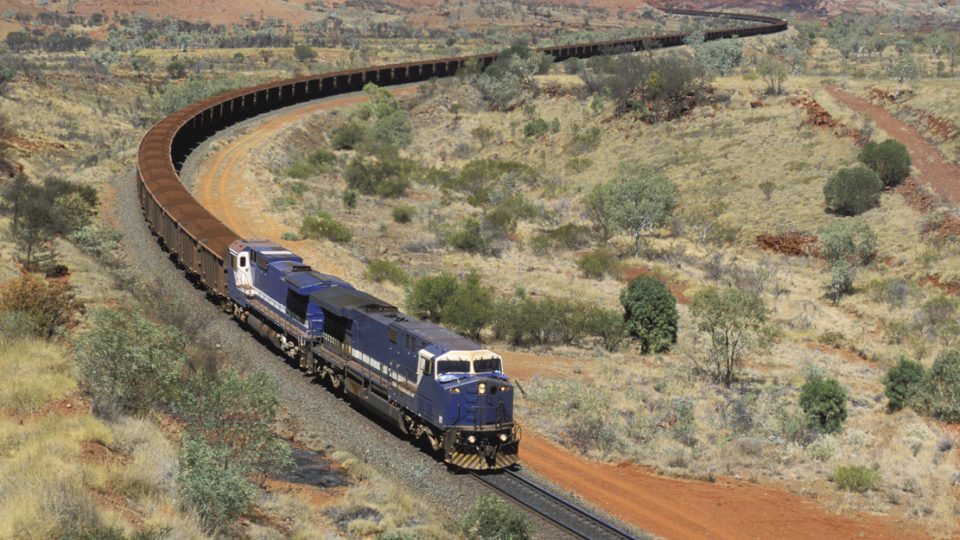 A train carries iron ore from a Pilbara mine.