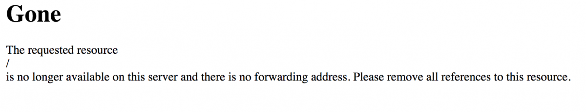 An error message displayed in lieu of a redirect to Eatnow
