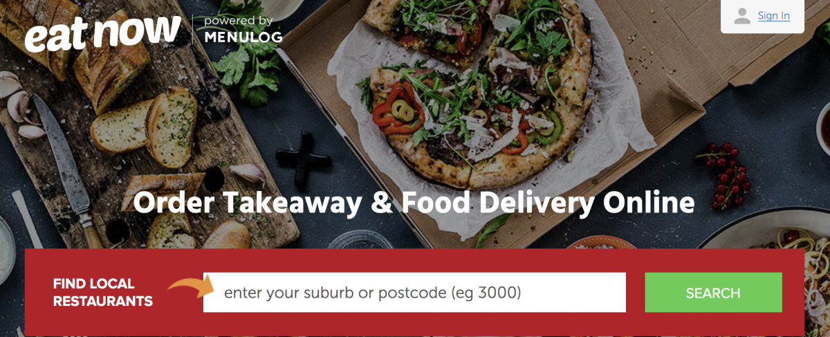The search page for EatNow.