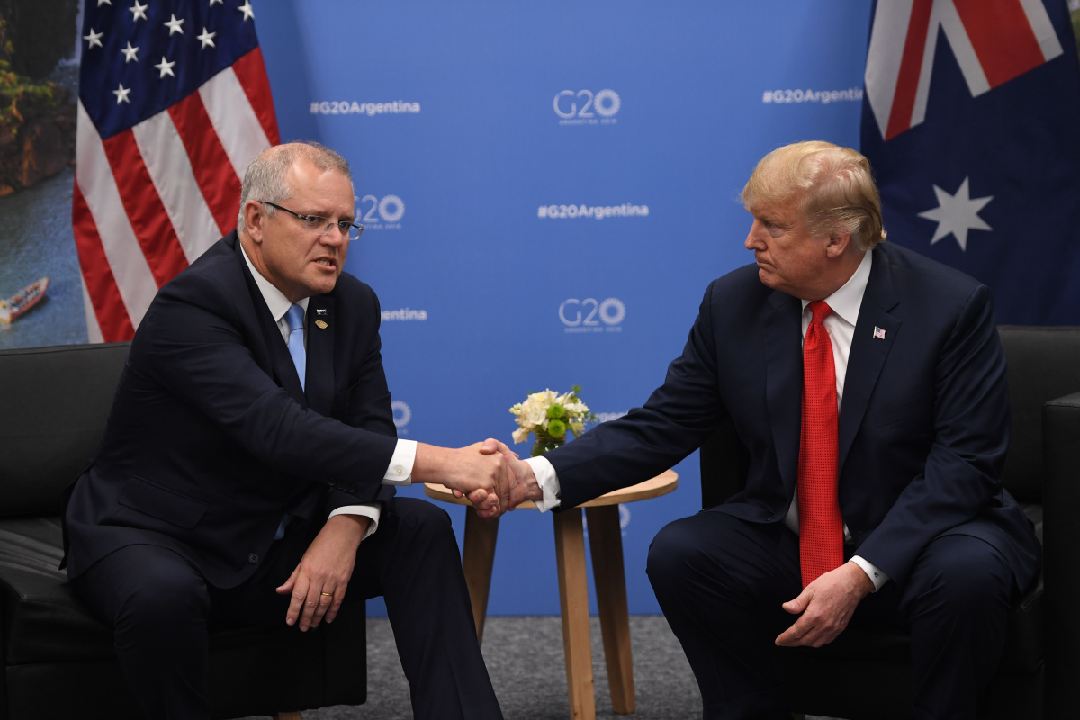 Morrison made a deliberate show of support to for the US. Photo: Getty