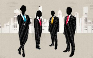 Four silhouettes of bankers.