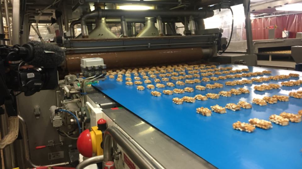 Picnic bars getting coated in chocolate at the Mondelez factory in Melbourne