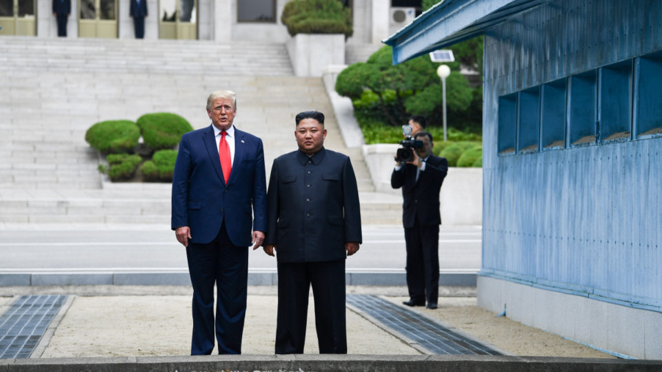 US President Donald Trump and Kim Jong-un in the DMZ.