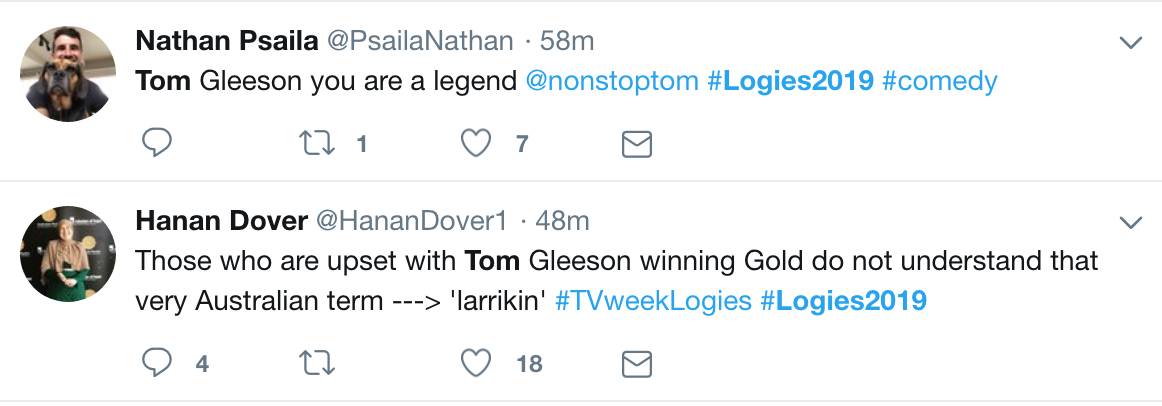 Tom Gleeson tweet