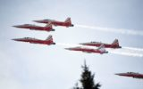 Patrouille Suisse perform over wrong town