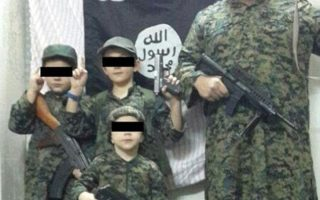 Pictured is dead ISIS fighter Khaled Sharrouf and his children. Photo: ISIS