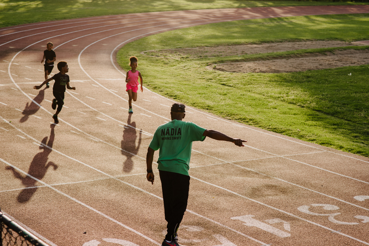 Charles Allie coaches children, some as young as six, at Nadia, a track club in Pittsburgh, May 23, 2019. At 71, the runner wants the world record in 100 meters to go along with his age group records in the 200 and 400.