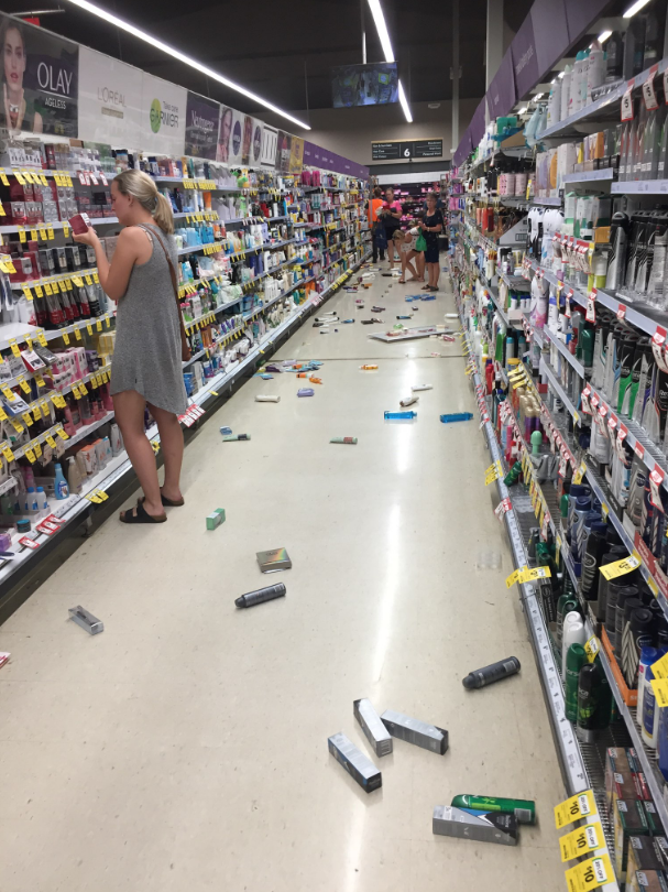 Items flew off the shelf in a store in a Broome Shopping Centre. Source: Dylan Storer