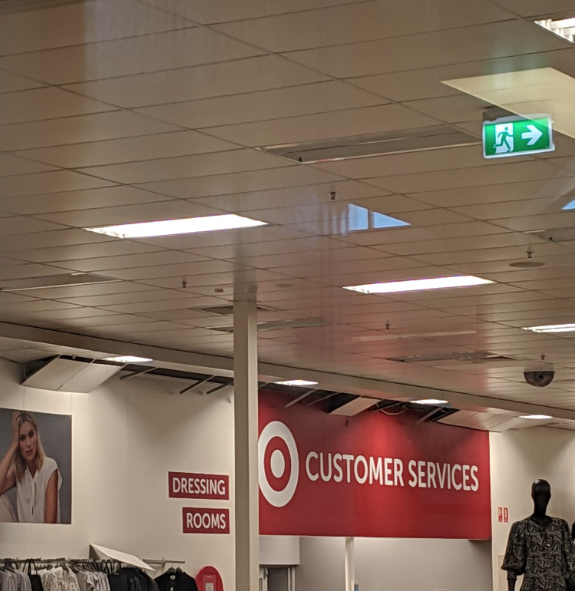 Panels on the roof in Target dislodged. Photo: Dylan Storer