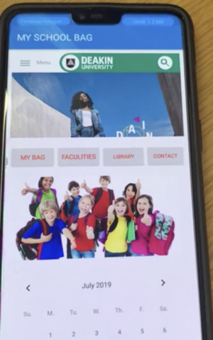 A photo of the My School bag app.