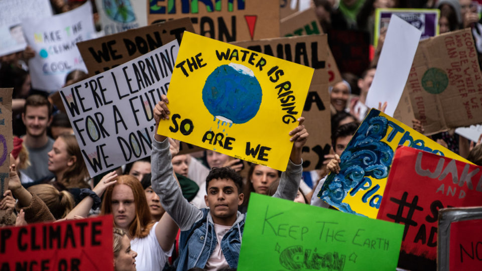 Young people during a Climate Change Awareness March in March. Photo: Getty