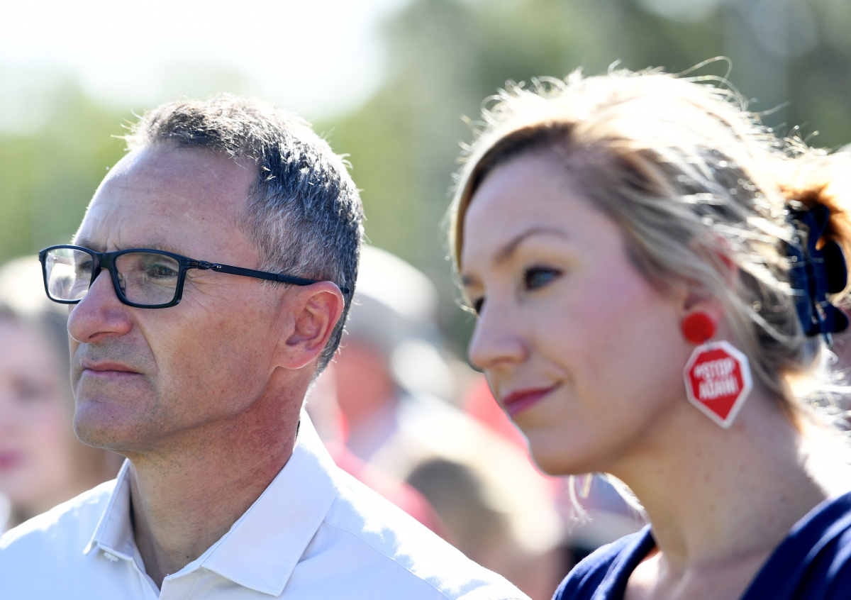 Senator Richard Di Natale and Larissa Waters attend an Anti Adani protest in front of Parliament House.