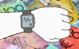 A hand checking his pulse over a stack of money.