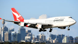 A Qantas flight in Sydney.