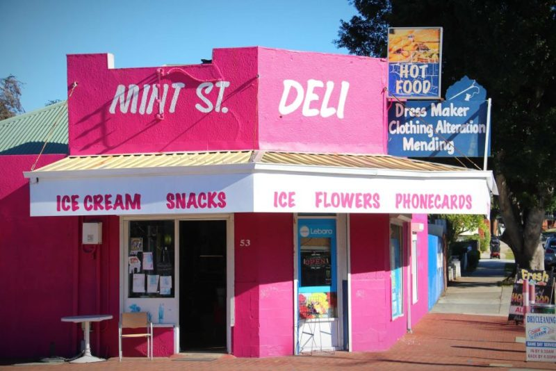 The hot pink-painted Mint Street deli in East Victoria Park, Perth.