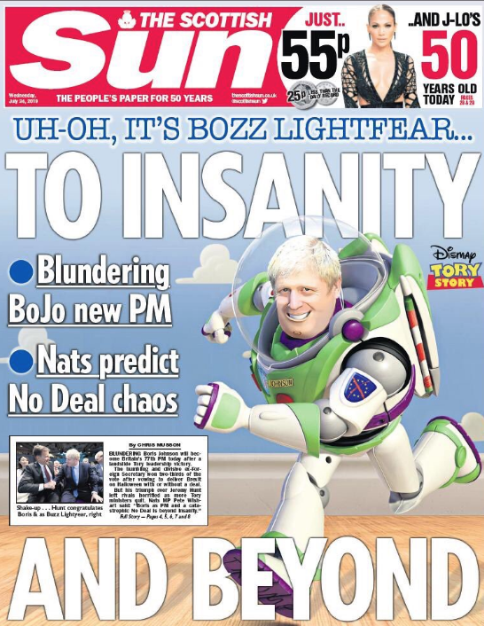 The cover of The Scottish Sun the day after Mr Johnson was announced as leader.