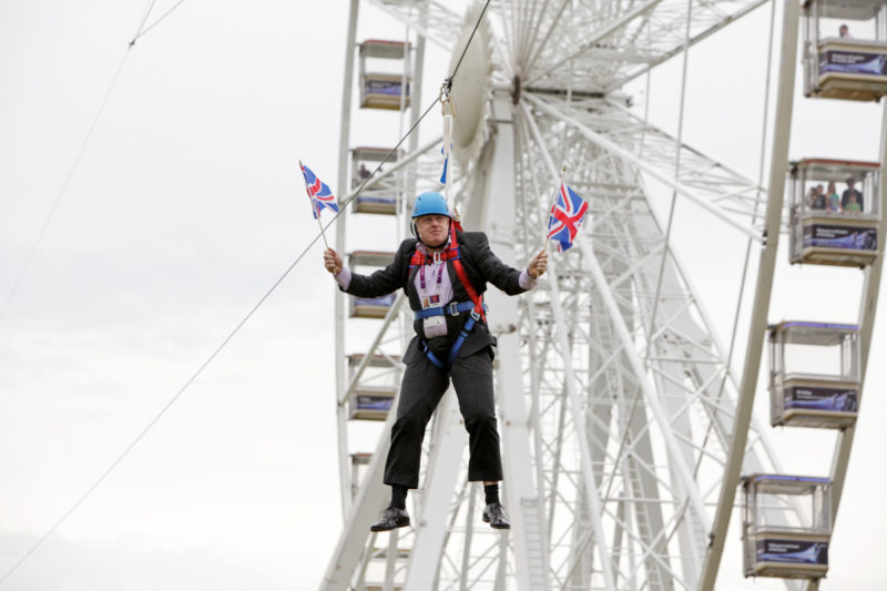 Mr Johnson got stuck on a zip-line during BT London Live. Photo: Getty