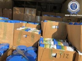 The boxes of baby formula seized by police. Picture: NSW Police