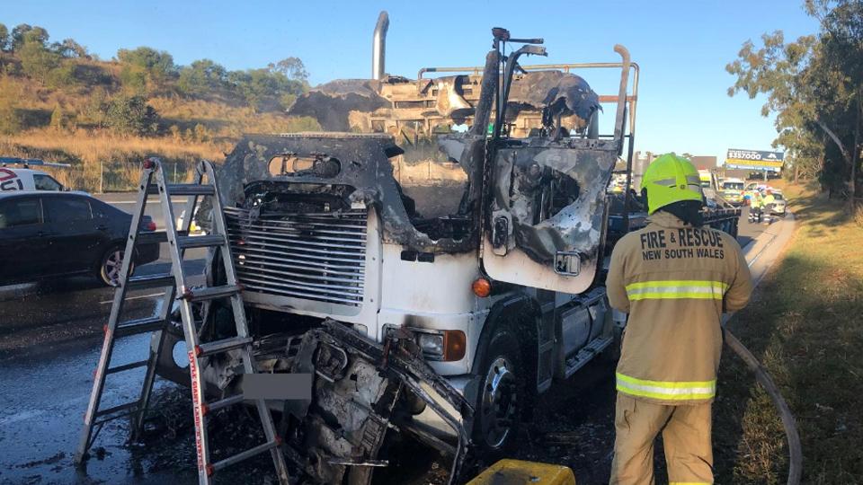 m5 motorway truck fire