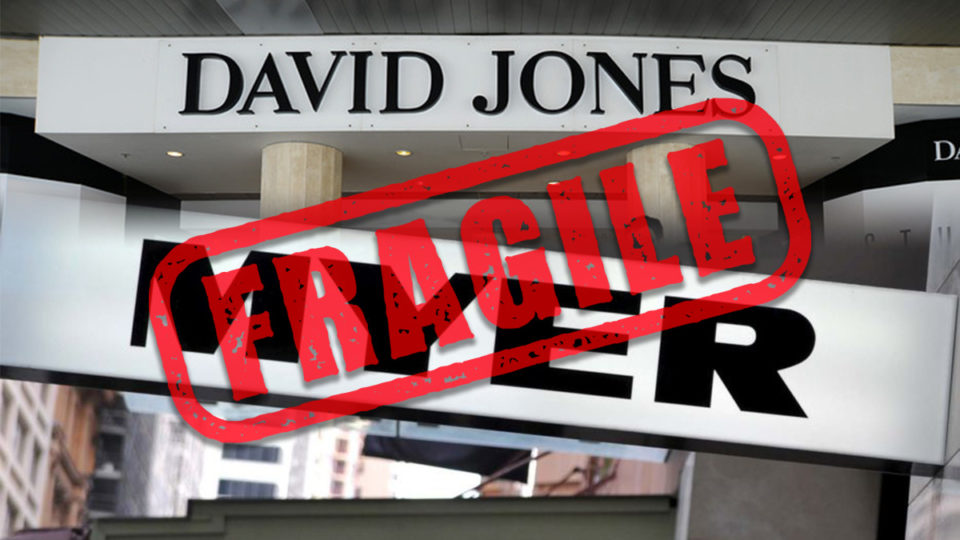 David Jones and Myer signs with fragile stamp