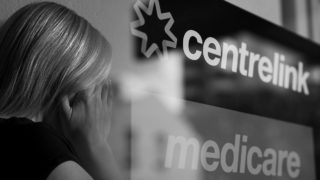 Centrelink office black and white domestic violence.