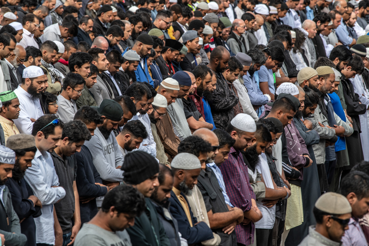 Christchurch Muslim community prays together after the shooting.