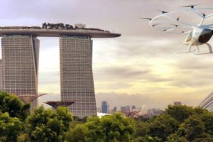 An illustration showing a flying taxi heading toward Singapore's Marina Bay Sands. Photo: Volocopter