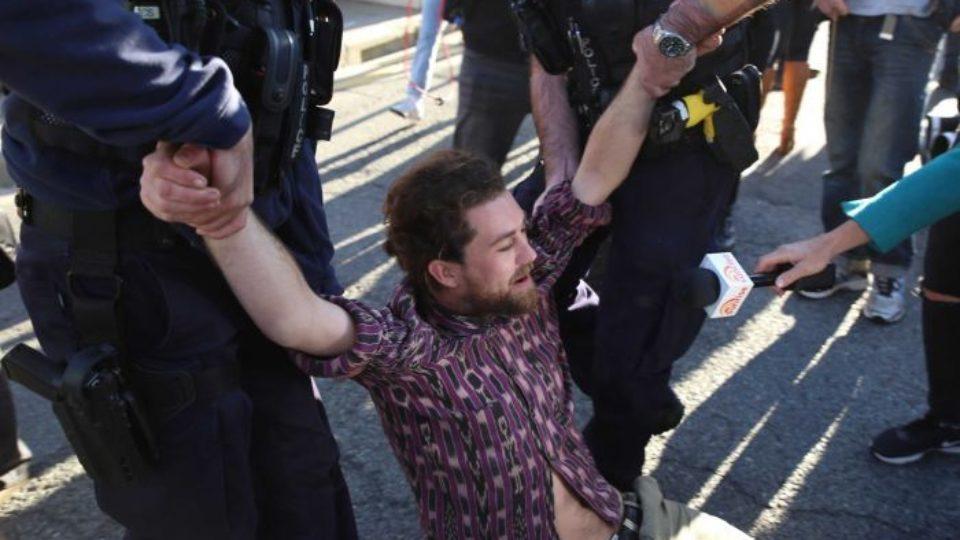 protesters brisbane cbd