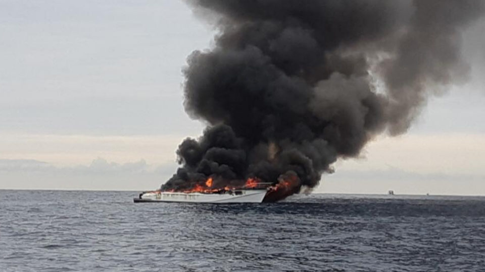 whale watching boat fire