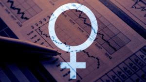 A female symbol over some economic data.
