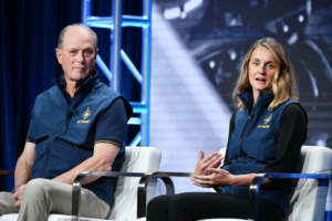 Robert Ballard, lead scientist, and Allison Fundis, the expedition leader, discussing the mission last month. Photo: Getty