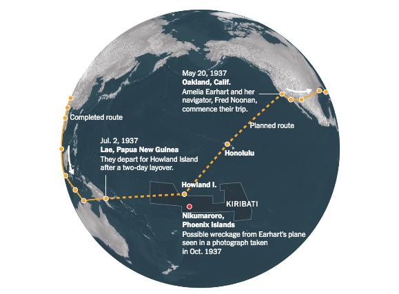 Amelia Earhart's Last Flight. Graph: The NYT