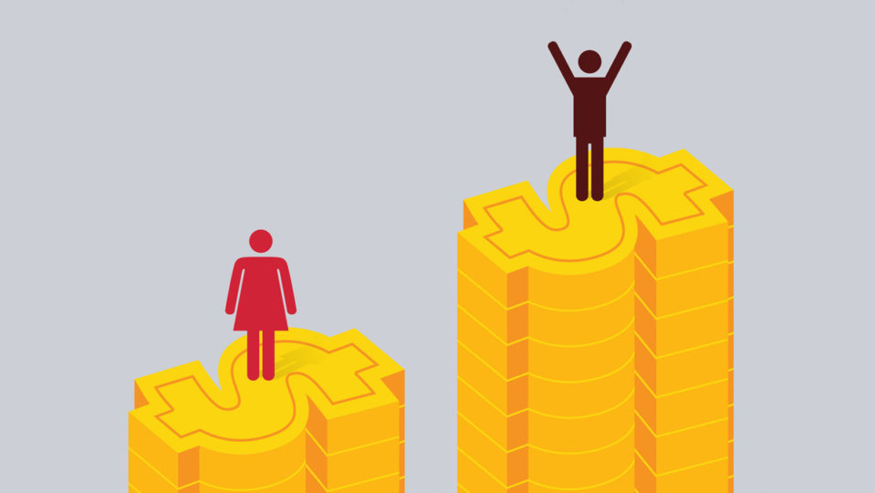 Women and men on sized money stacks
