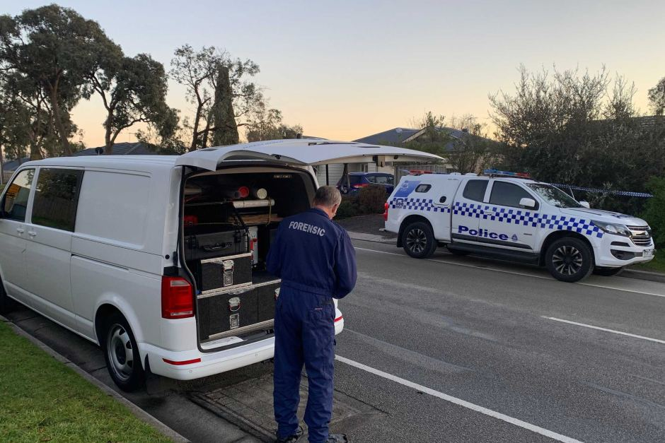 Forensic investigators at the Langwarrin home where a toddler died.