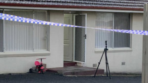 Police crime scene at the site where a toddler died.