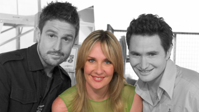 Corinne Grant with Glasshouse panel-mates Wil Anderson (left) and Dave Hughes.