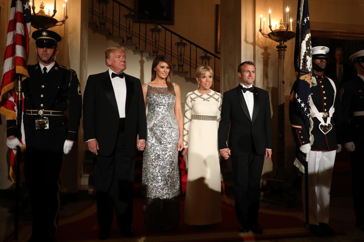 Donald Trump Melania Trump Emmanuel Macron Brigitte Macron