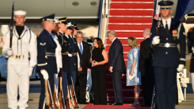 PM Scott Morrison lands in US on 'Shark One' for week-long visit