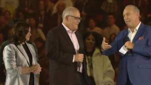 Brian Huston with Prime Minster Scott Morrison and wife Jenny.